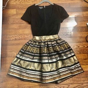 NWOT Bebe Black dress with Jacquard skirt